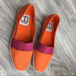 Jeffrey Campbell orange slip on new 7. JCplay